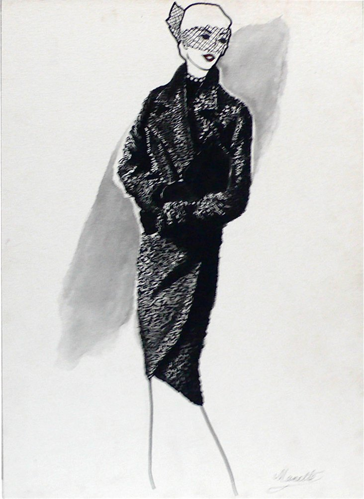 1950's Fur Coat Drawing