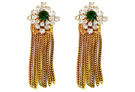 Hobé Rhinestone Fringe Earrings