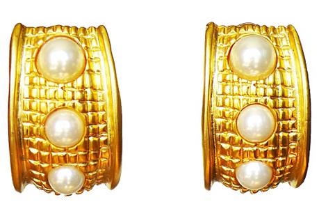 KJL Long Gold & Pearl Earrings