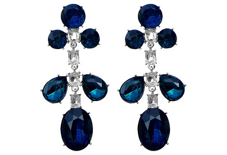 KJL Blue Rhinestone Earrings