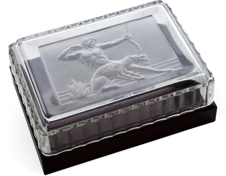 Glass & Bakelite Art Deco Box by Hickok
