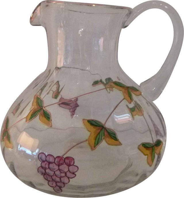 Glass Pitcher w/ Grapes & Leaves