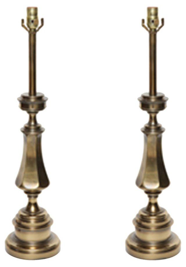 Stiffel Brass Candlestick Lamps, Pair