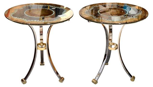 Jansen Eglomisé Tables, Pair (sold)