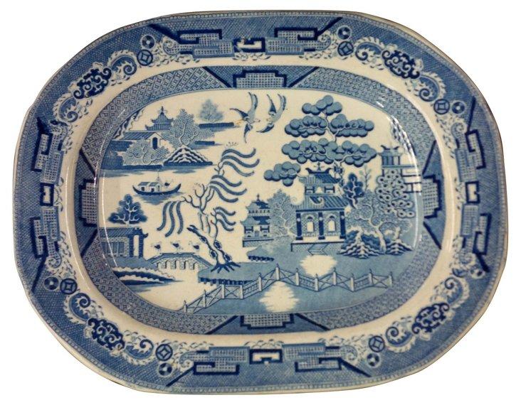 19th-C. Blue Willow  Platter