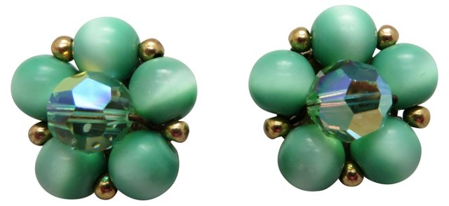 Green Aurora Borealis Earrings