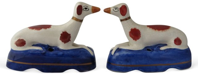 Staffordshire Whippet Pen Holders, Pair