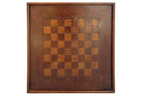 Folk Art Wood Inlaid Game Board