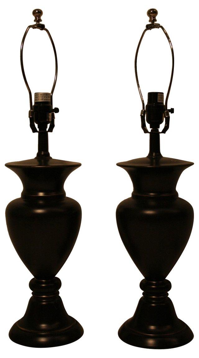 Black Urn Lamps, Pair
