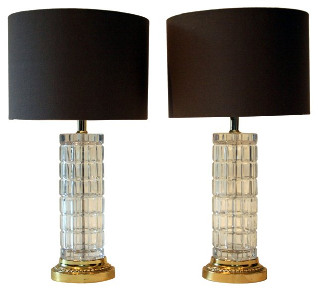 Faceted Glass Lamps, Pair