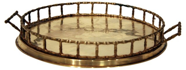 Round Bamboo-Style Gallery Tray