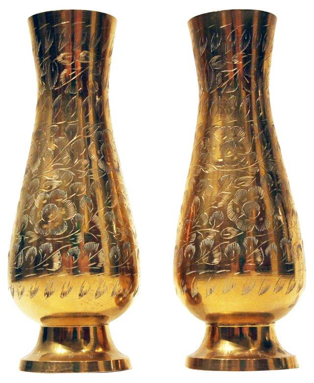 Brass Vases, Pair