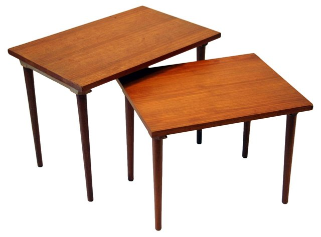 Teak Nesting Tables, Pair