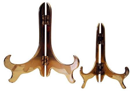 Brass Tabletop Display Stands, S/2