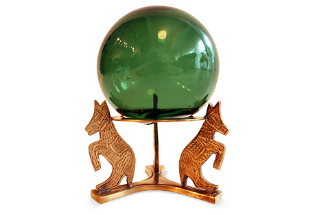 Green Glass Sphere on Brass Base