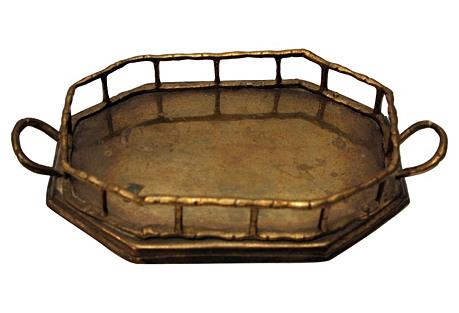 Small Octagonal Bamboo-Style Tray