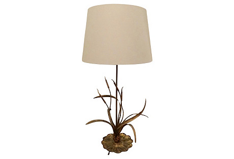 Gilt Cattail Reed Lamp
