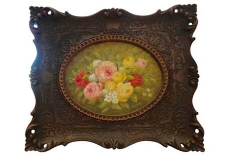 Floral Painting in Ornate Frame, 1974*