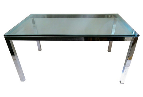 Chrome & Glass Parsons-Style Desk