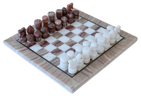 Carved Marble Chess Set w/ Brass Trim
