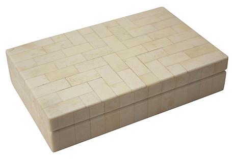 Geometric Tesselated Bone Trinket Box