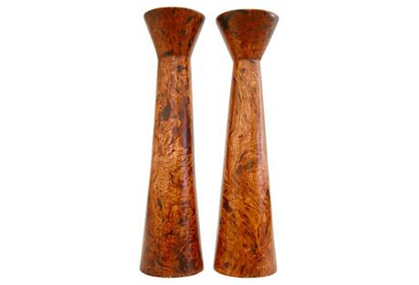 Burl Wood Candleholders, Pair