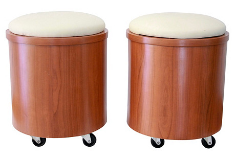Cylindrical Teak-Laminate Stools, Pair
