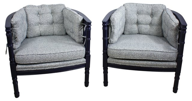 Navy Faux-Bamboo Chairs, Pair