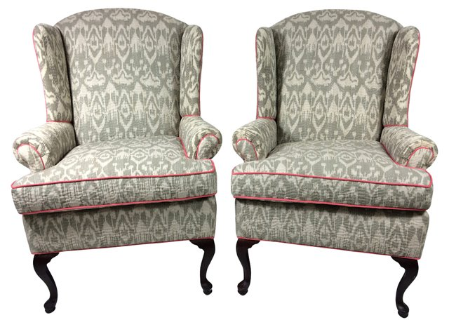 Quilted  Ikat Wingbacks, Pair