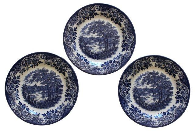 Blue & White English Plates, S/3