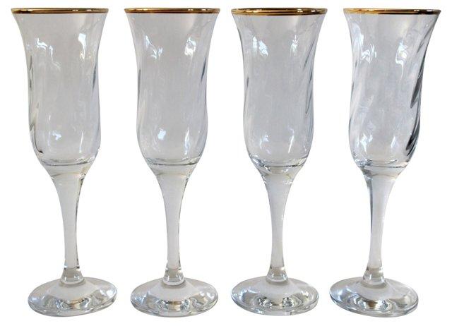 Gold-Rimmed Champagne Flutes, S/4
