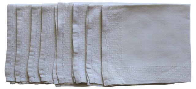 Ivory Linen Napkins, S/8