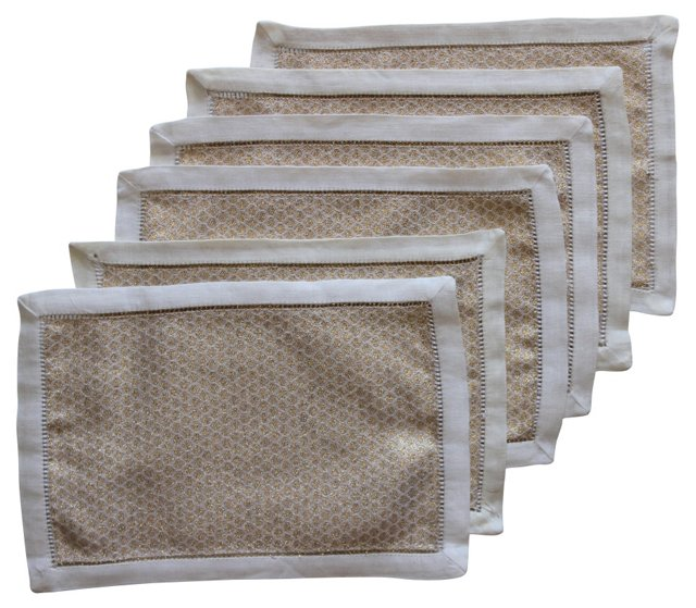 Gold Cocktail Napkins, S/6