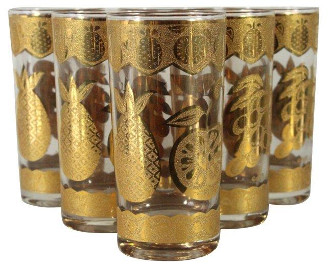 Culver Gold Fruit Glasses, S/6