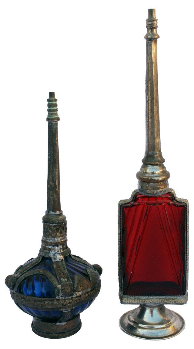 Moroccan Perfume Bottles, Pair