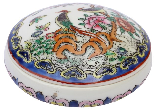Bird-Motif Porcelain Box