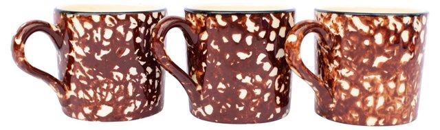 Spatterware Mugs, S/3