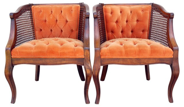 Velvet Barrel  Chairs, Pair