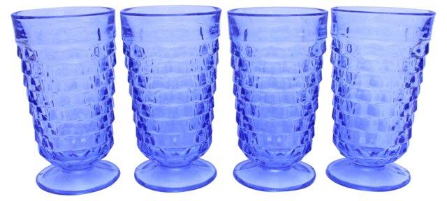 Blue Pedestal Glasses, S/4