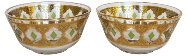 1970s Gilt & Green Bowls, Pair