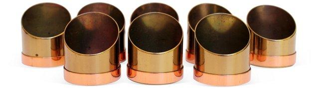 Brass & Copper Napkin Rings, S/8