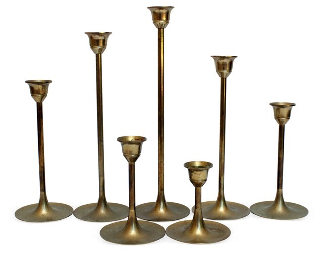 Midcentury Brass Candleholders, S/7