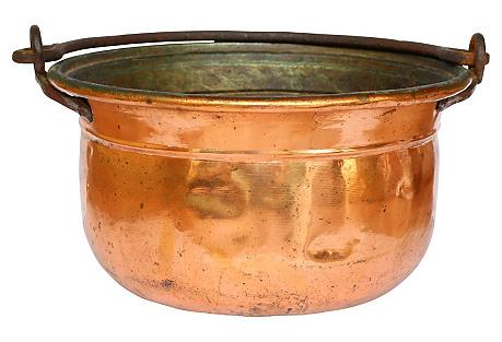 Large Copper Pot w/ Iron Handle