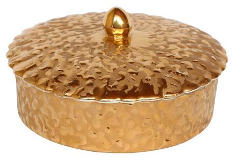 Gold Porcelain Covered Box
