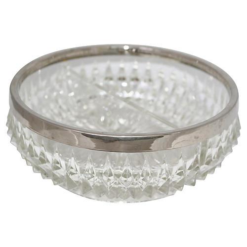 Divided Crystal Serving Bowl