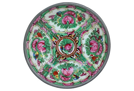 Chinese Porcelain & Pewter Catchall