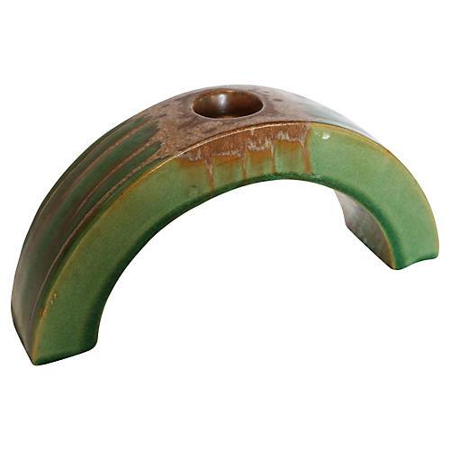 Midcentury Green Drip Glaze Candleholder
