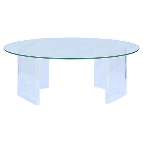 Midcentury Lucite & Glass Coffee Table