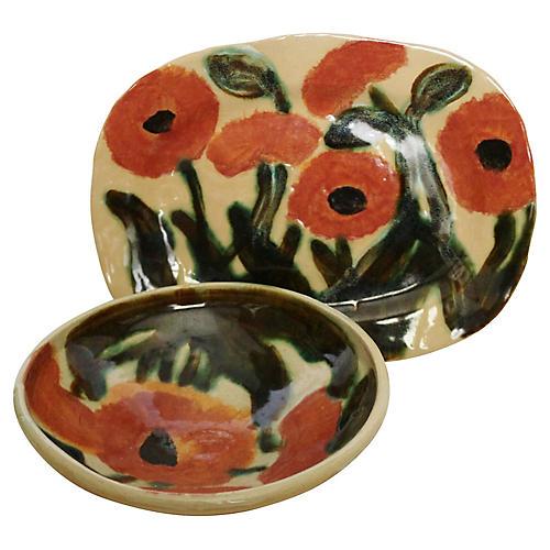 Floral Platter & Bowl, 2-Pcs