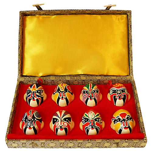 Miniature Kabuki Mask Set w/ Box, S/9